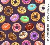 cartoon donut background.... | Shutterstock .eps vector #1493395772