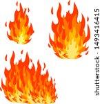 red flame set. cartoon flat... | Shutterstock .eps vector #1493416415