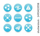 white sharing icons set with...