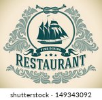 retro styled fine dining... | Shutterstock . vector #149343092
