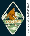 Stock vector sasquatch t shirt print bigfoot walking in the mountains vintage typography illustration badge 1493435468