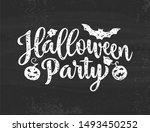 halloween party poster. hand... | Shutterstock . vector #1493450252