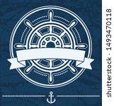 ship steering wheel nautical... | Shutterstock . vector #1493470118
