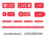 set of live streaming icons.... | Shutterstock .eps vector #1493480438