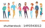 group of charismatic smiling... | Shutterstock .eps vector #1493543012