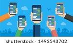 hand holding smartphone vector...   Shutterstock .eps vector #1493543702