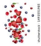 3d realistic vector falling mix ... | Shutterstock .eps vector #1493551985