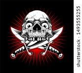 skull hand drawing vector skull ... | Shutterstock .eps vector #1493555255