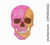 donut skull art graphic...