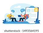employee hiring. recruiter and... | Shutterstock .eps vector #1493564195