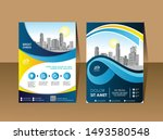 front and back cover of a... | Shutterstock .eps vector #1493580548
