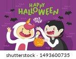 happy halloween card in cute... | Shutterstock .eps vector #1493600735