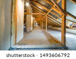 Attic Of A Building With Wooden ...