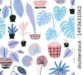 cute tropical pot plants in... | Shutterstock . vector #1493631062