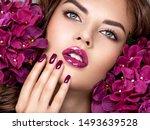 beautiful  woman with purple... | Shutterstock . vector #1493639528