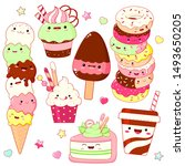 set of cute sweet icons in... | Shutterstock .eps vector #1493650205