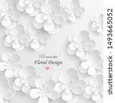 paper flower. white flowers cut ...   Shutterstock .eps vector #1493665052