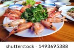 big red shrimps delicious king... | Shutterstock . vector #1493695388