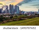 Calgary City. Sunset Downtown. Calgary Saddledome Sunset.