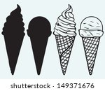 sorts of ice cream in a waffles ... | Shutterstock .eps vector #149371676