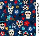 day of the dead pattern. dia de ... | Shutterstock .eps vector #1493717768