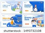 set of landing page design... | Shutterstock .eps vector #1493732108