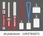 badge mockup. red cards lanyard ... | Shutterstock .eps vector #1493783072