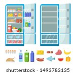 flat fridge vector. full and... | Shutterstock .eps vector #1493783135