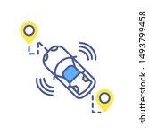 gps route smart car color line...
