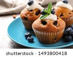 Plate Of Tasty Muffins And...