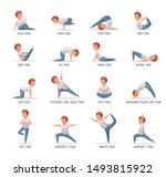 kids yoga icons set with poses... | Shutterstock .eps vector #1493815922