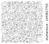 camping doodle set. vector...   Shutterstock .eps vector #1493817755