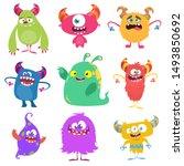 cute cartoon monsters. set of... | Shutterstock .eps vector #1493850692