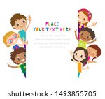 group of children waving.... | Shutterstock .eps vector #1493855705