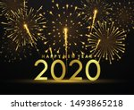 happy new year 2020 on... | Shutterstock .eps vector #1493865218