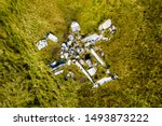 Aerial Drone View Of An Old...