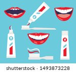 dental cleaning tools. oral... | Shutterstock .eps vector #1493873228