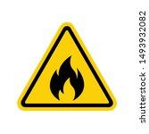 fire warning sign on white.... | Shutterstock .eps vector #1493932082