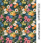 elegant floral pattern in small ... | Shutterstock .eps vector #1493987222
