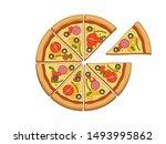 top wiev vector pizza. eight... | Shutterstock .eps vector #1493995862