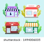 set of modern shops and... | Shutterstock .eps vector #1494006035