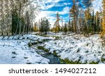 Autumn Snow Forest River...