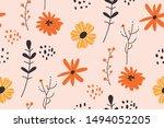 floral pattern. pretty flowers... | Shutterstock .eps vector #1494052205