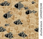 seamless pattern with cute fish.... | Shutterstock .eps vector #1494093248