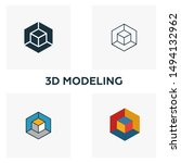 3d modeling icon set. four...
