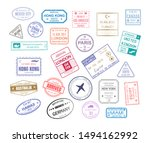 stamp in passport for traveling ... | Shutterstock .eps vector #1494162992