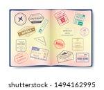 stamp in passport for traveling ... | Shutterstock .eps vector #1494162995