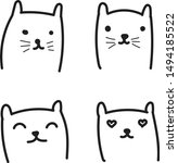 cats faces hand drawn doodle ... | Shutterstock .eps vector #1494185522