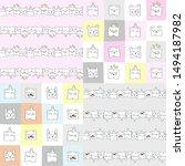 set. funny pillows. vector... | Shutterstock .eps vector #1494187982