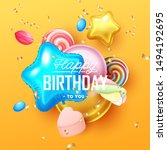happy birthday background with... | Shutterstock .eps vector #1494192695